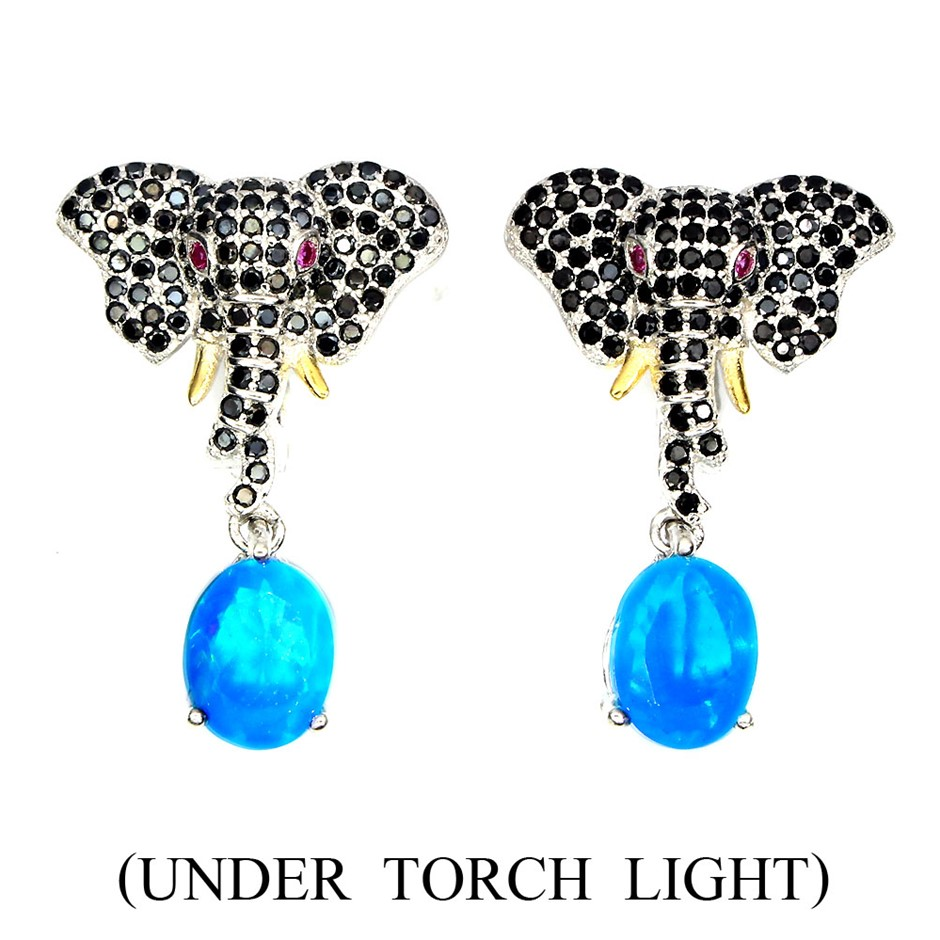 Unique Genuine Blue Fire Opal & Spinel Elephant Earrings