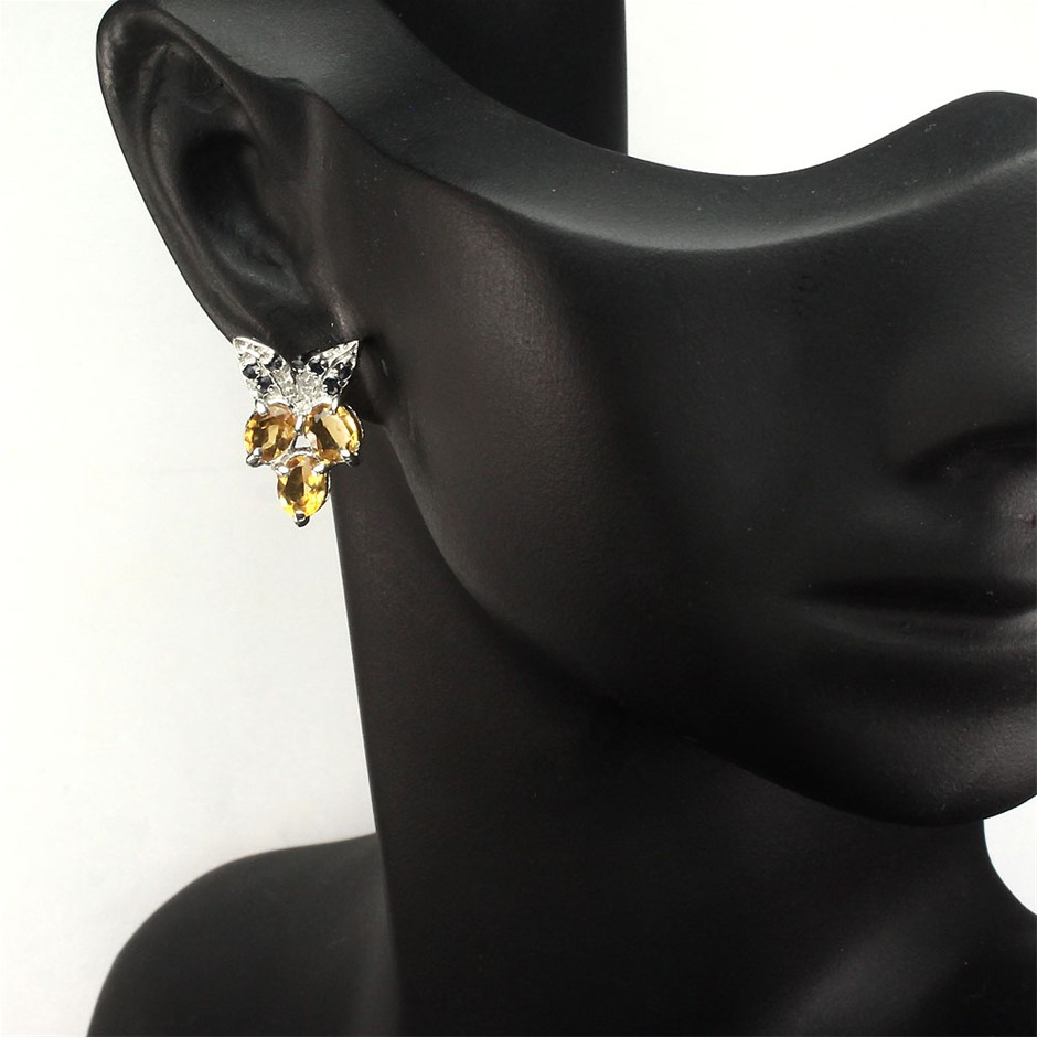 Gorgeous Genuine Citrine & Sapphire Stud Earrings.