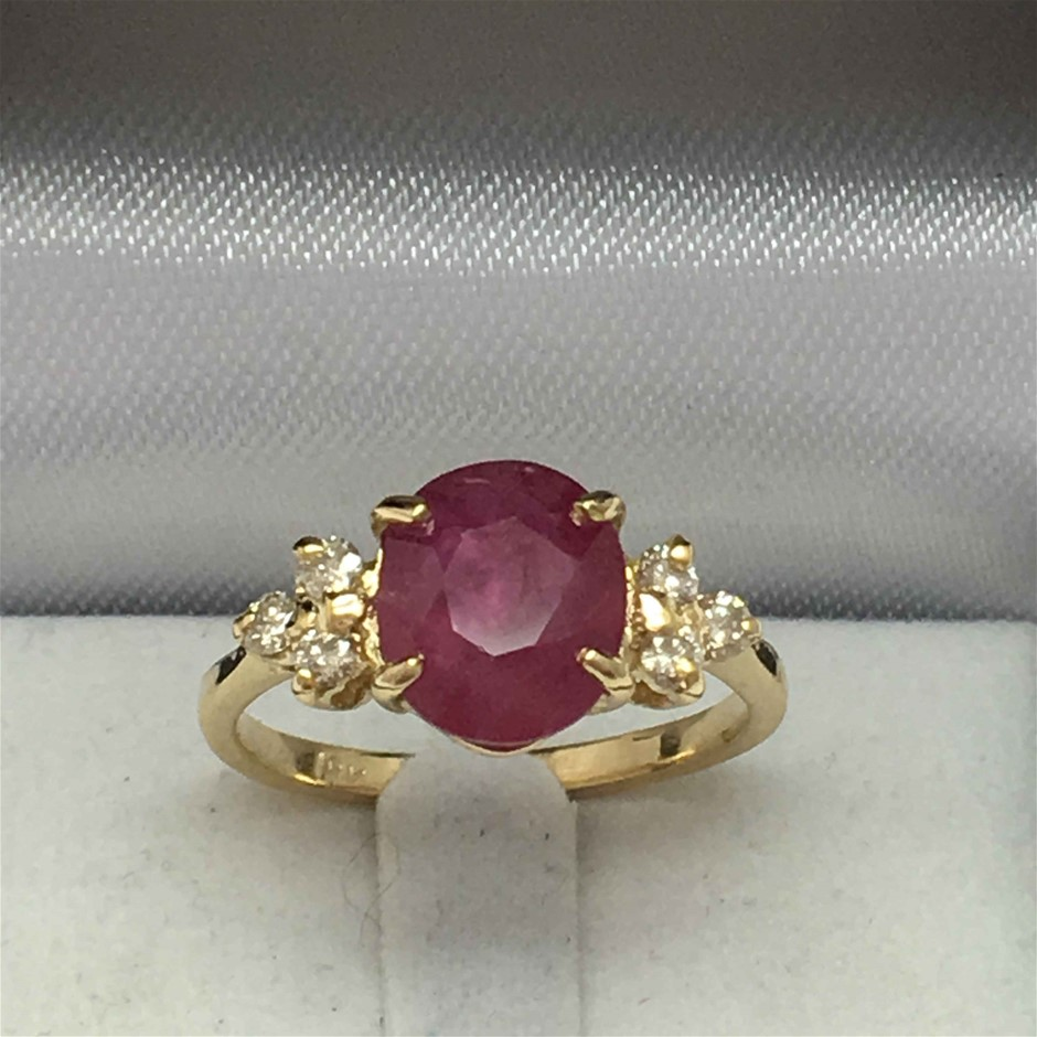 18ct Yellow Gold, 3.05ct Ruby and Diamond Ring