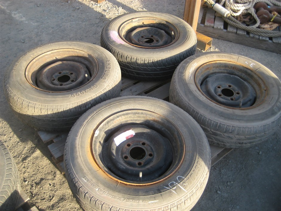 Tyres. 4 x Car Tyres on Steel Rims