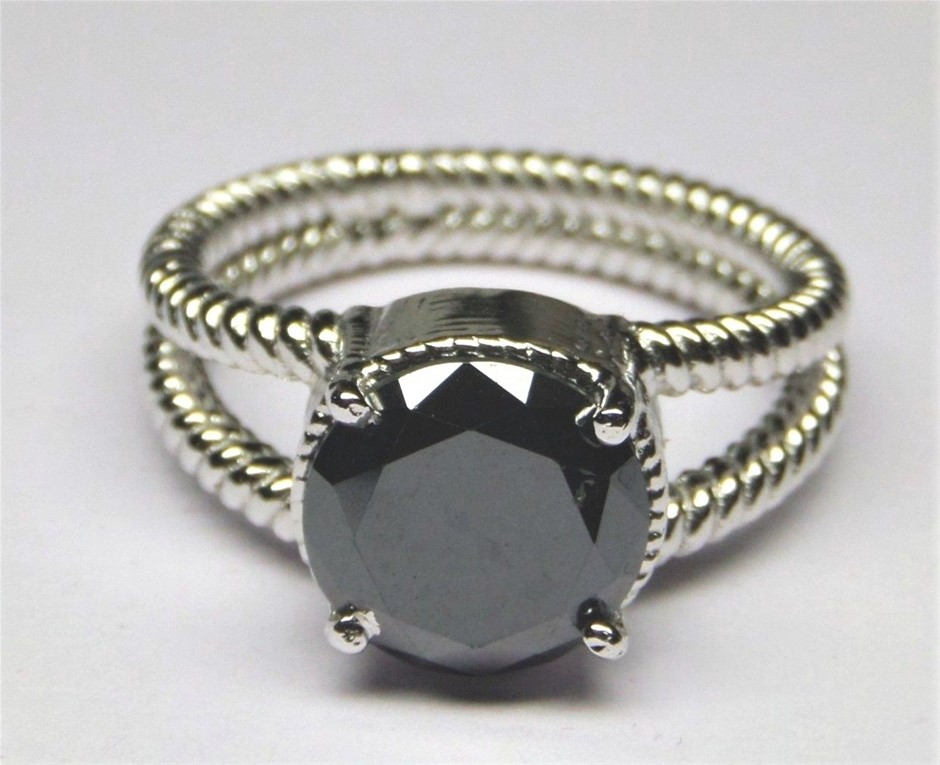 Superb 2.53ct Round Cut Black Moissanite Solitaire Engagement Ring Size 'M'