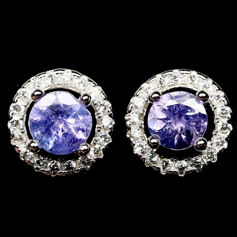 Striking Genuine Tanzanite Stud Earrings