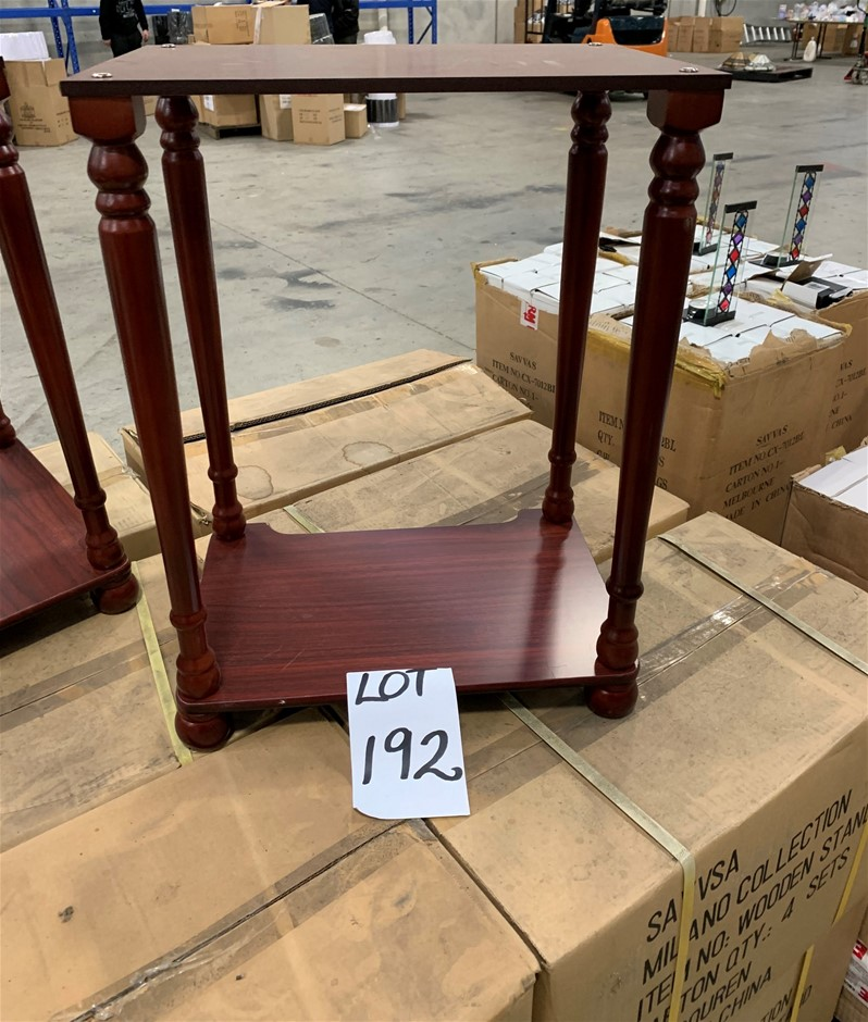 Qty 2 x Wooden Side Tables, two tiered