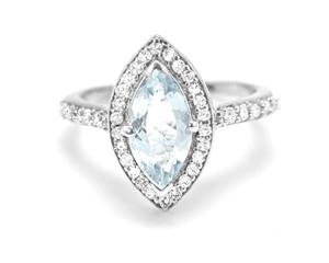 Beautiful Genuine Aquamarine Halo Ring