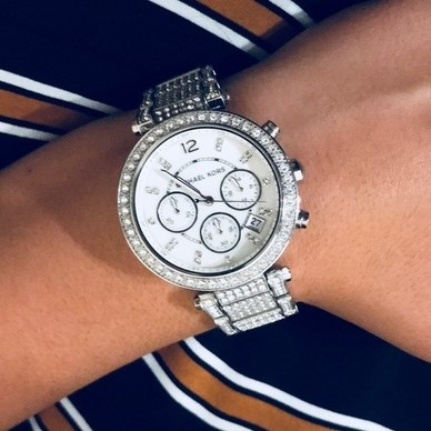 Ladies new Michael Kors NY Couture luxury dual time chronograph watch.