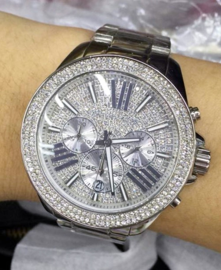 Never worn Michael Kors 'Wren' diamante chrono watch
