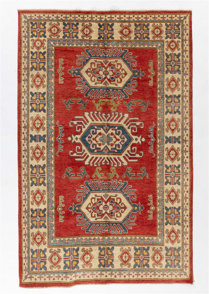 Afghan Kazak Hand Knotted Wool Pile Rug In Tribal Design Size (cm): 158x249