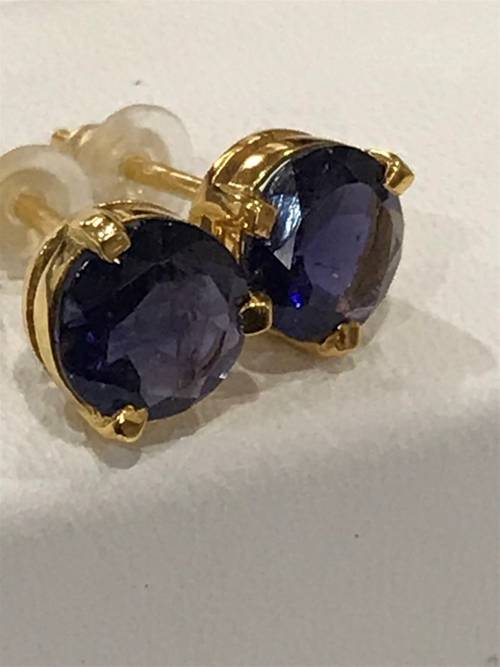 Magnificent Genuine Iolite 3.20ct & 18K Gold Vermeil Earrings