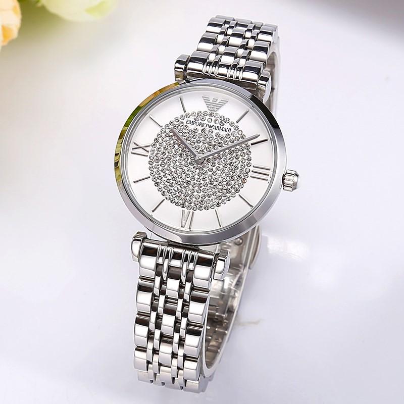 Gorgeous new Armani White Crystal Dial Ladies Watch.