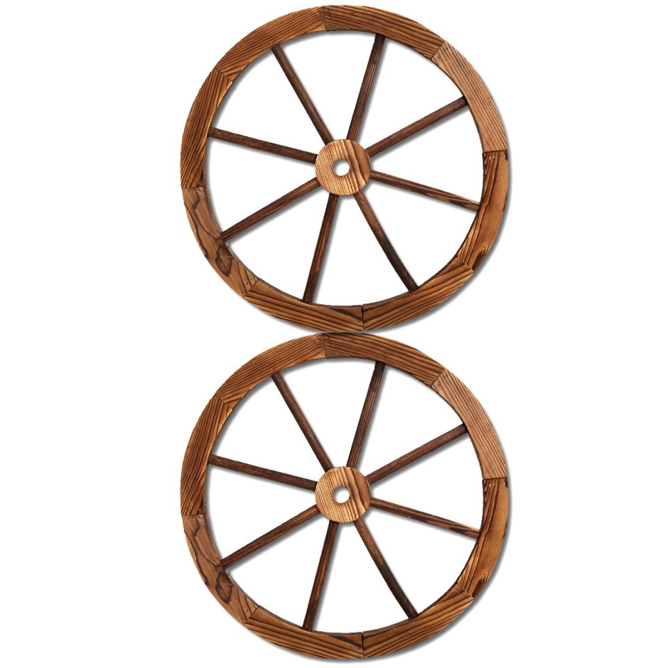 Gardeon Wooden Wagon Wheel X2