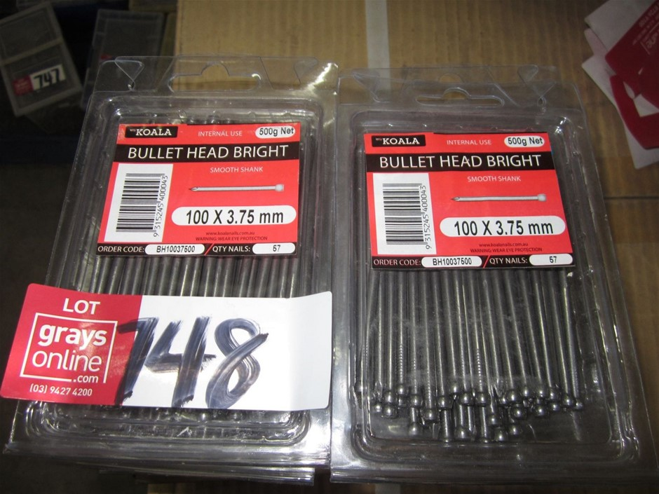 12 units of 500g packets of Koala bullet head bright nails