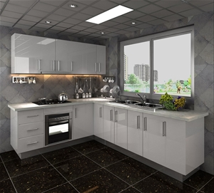 Gloss white vinyl l shape flat pack kitchen auction for Flat pack kitchens