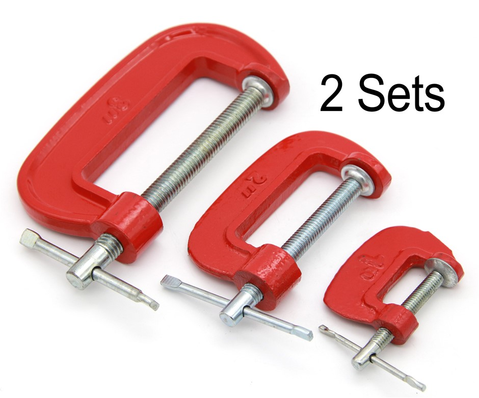 "2 x G-Clamp 1-2-3"" Steel Metal & Wood Working Set"