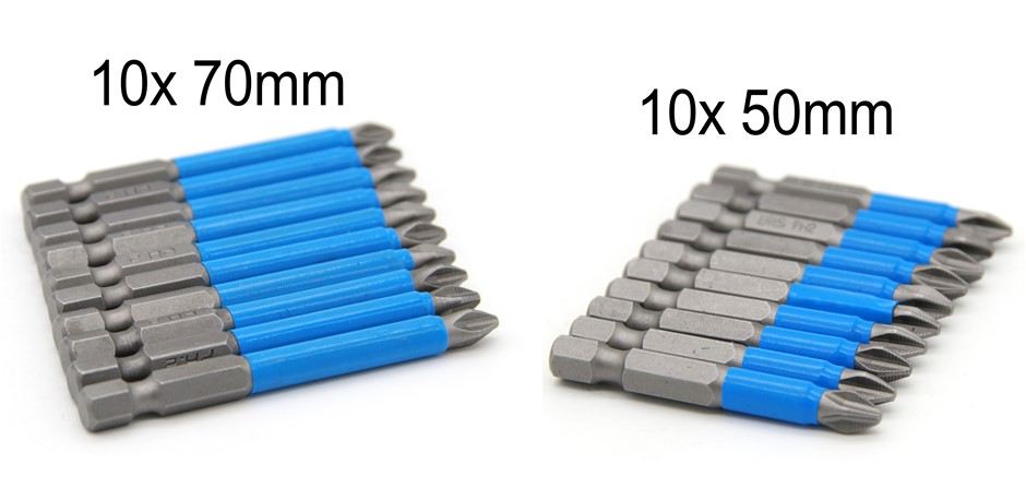 10 x 50mm & 70 mm PH2 Impact Quick Change Bit Set