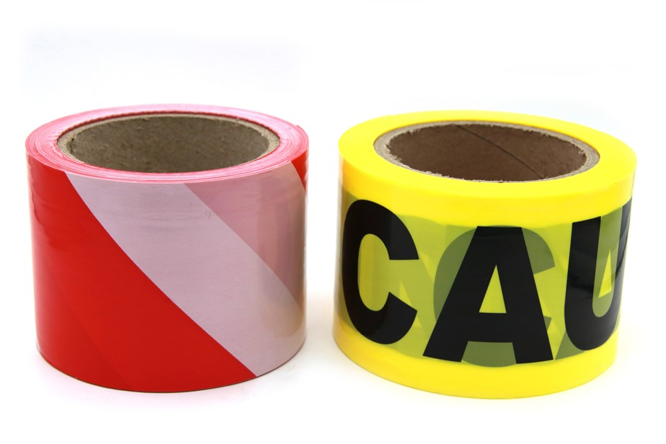 2 x Barrier Tape Black/Yellow Caution & Red/White 75mmx100m