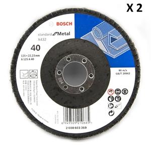 2 x Bosch 125mm Metal Flap Disc Sanding