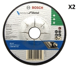 2 x Bosch Metal Grinding Disc with Depre