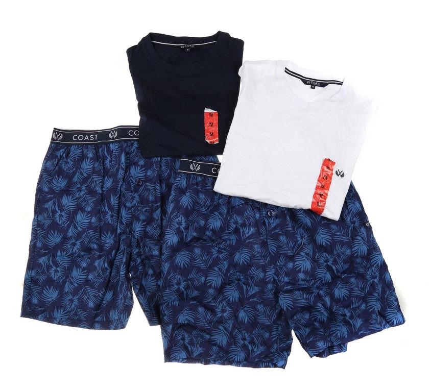 2 x COAST CLOTHING Men`s Shirt & Pants Sleepwear Sets, Size M, Navy/White &