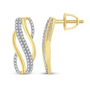 9ct Yellow Gold, 0.18ct Diamond Earring