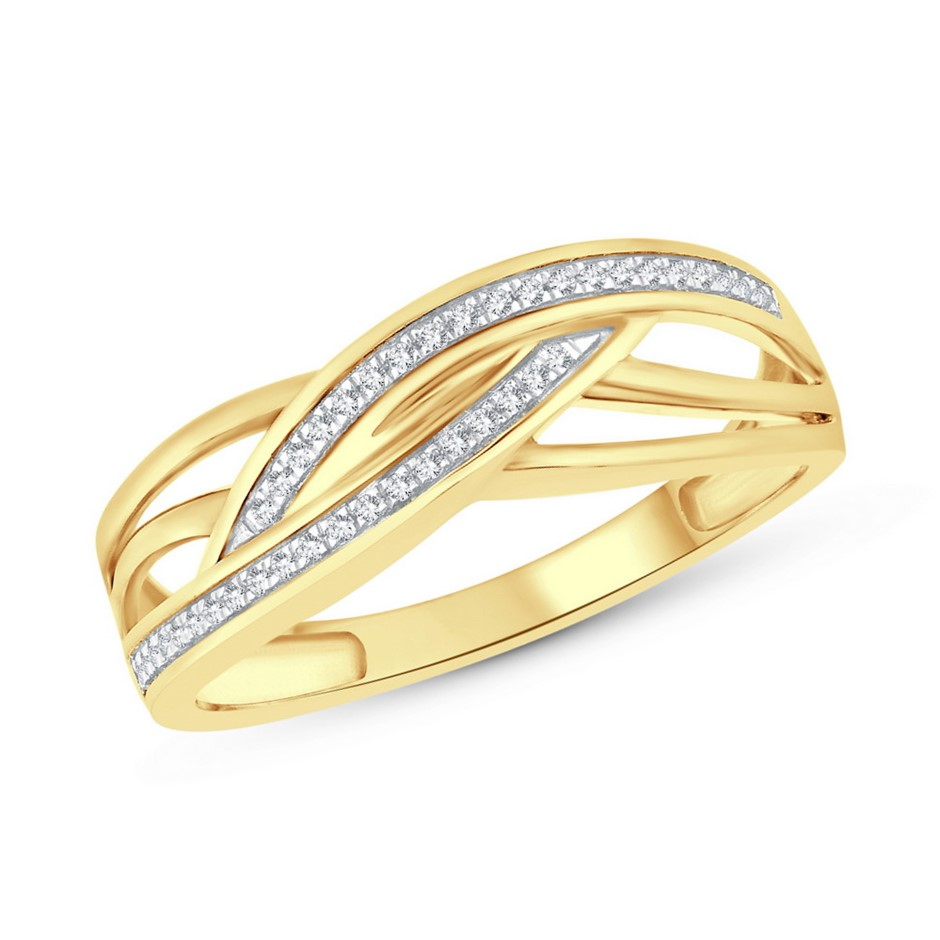 9ct Yellow Gold, 0.07ct Diamond Ring