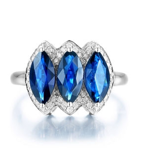 9ct White Gold, 2.92ct Blue Sapphire and