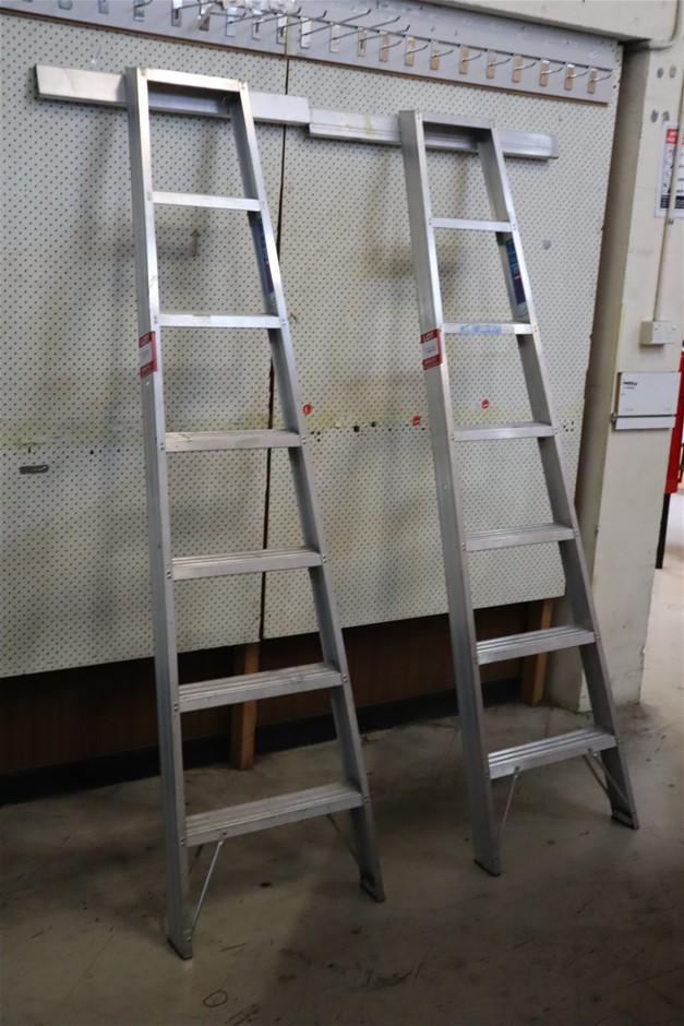 2 x Wellbuilt Single sided 7 Step Aluminium Library Ladder
