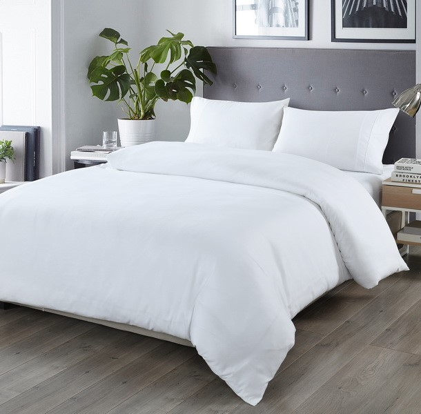 Royal Comfort Blended Bamboo Quilt Cover Sets -White-Queen