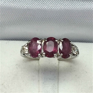18ct White Gold, 3.20ct Ruby and Diamond