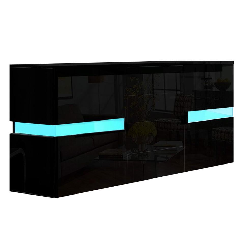 Artiss Buffet Sideboard Cabinet High Gloss Cupboard Doors Drawer RGB LED