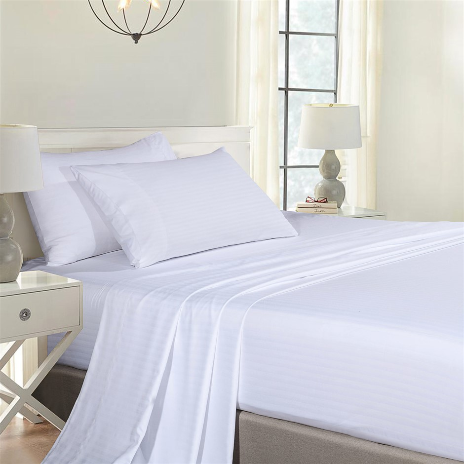 Royal Comfort Blended Bamboo Sheet Set with Stripes - King - White