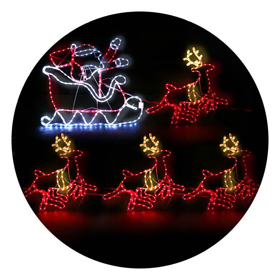 Jingle Jollys Christmas LED Motif Lights - Santa and Reindeer