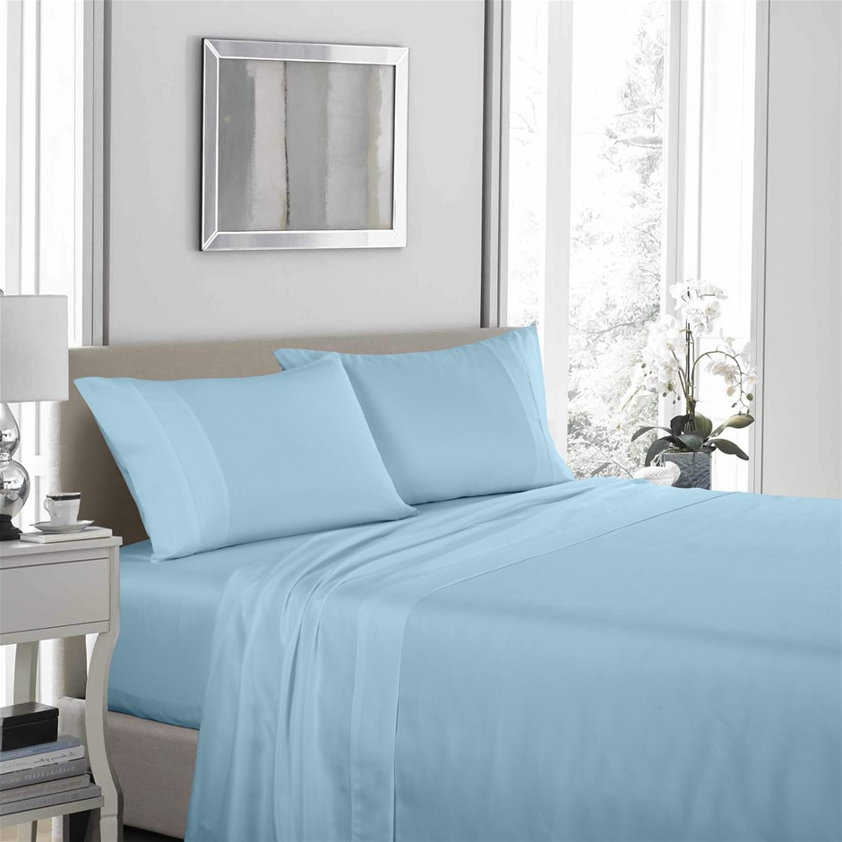 Royal Comfort 1200TC Ultrasoft 4 Piece Sheet Set - Queen - Sky Blue