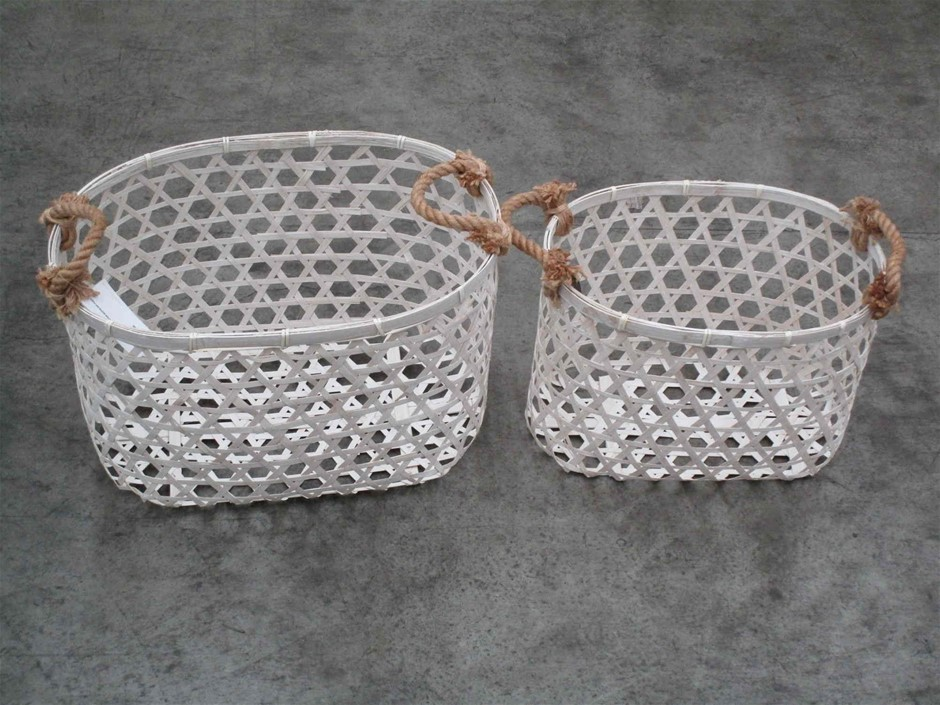 Pallet of Approx. 24 Bamboo Storage Baskets (Set of 2)