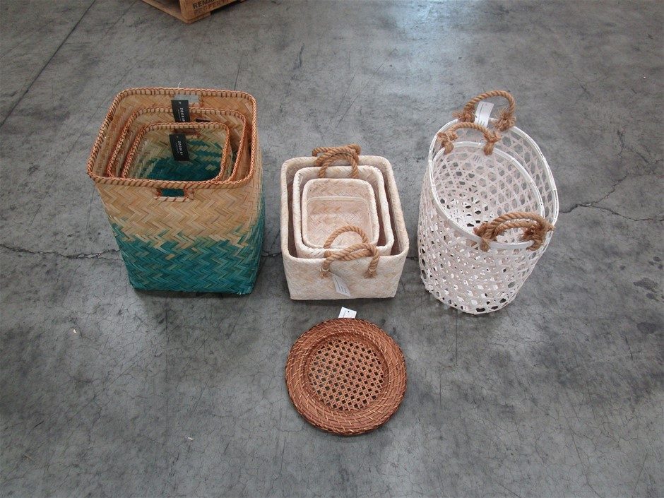Pallet of Assorted Bamboo Basket Sets and Rattan Tray