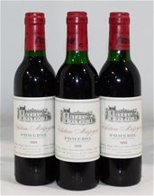 Chateau Mazeyres Pomerol 1995 (3x 375mL), Bordeaux. Cork closure.