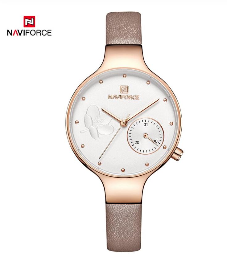 Naviforce Ladies Stylish Watch Leather Bracelet NF-5001 RGWPG