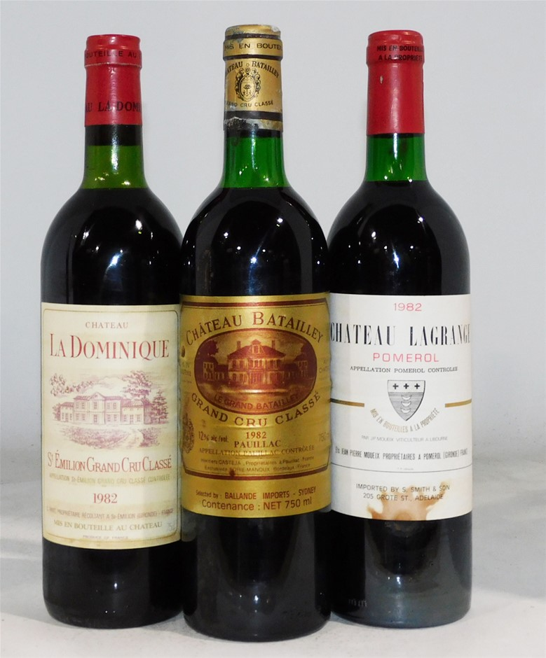 Pack of Assorted 1982 French Wine (3x 750mL), Fr. Cork.