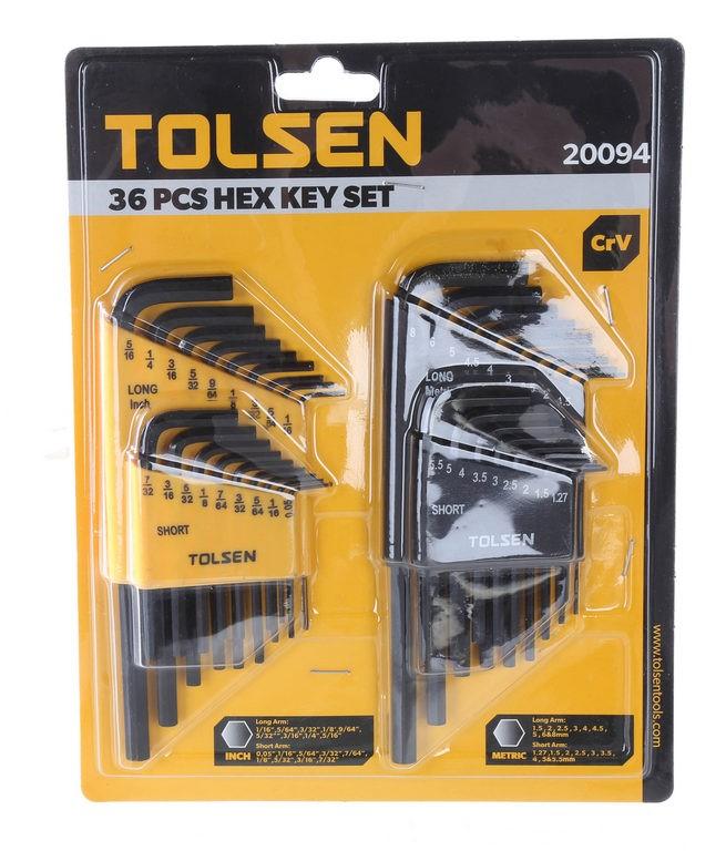 TOLSEN 36pc Metric & Imperial Hex Key Set, Long & Short Arm Sizes: 0.05`` t