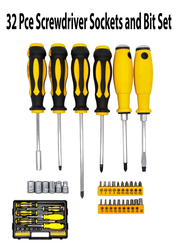 32 Pce Screwdriver Sockets and Bit Set