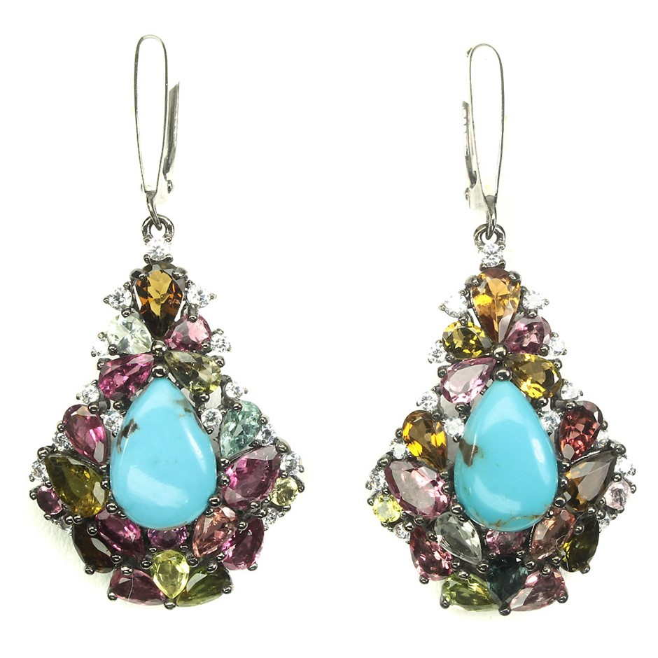 Stunning Unique Genuine Turquoise & Tourmaline Drop Earrings.