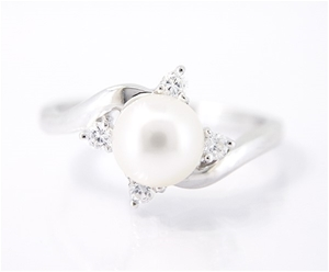 White Pearl And Cubic Zirconia Sterling