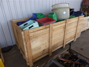 Assorted Storage Tubs And Timber Crate (