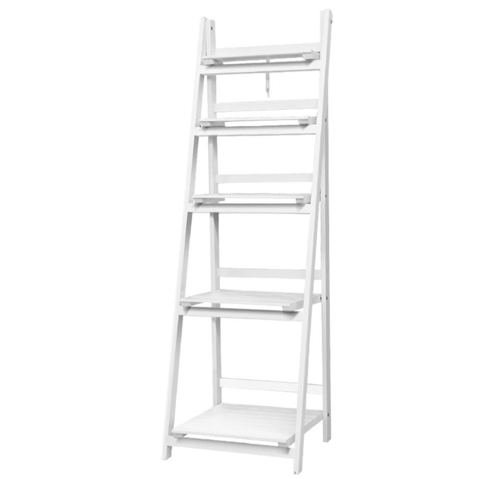 Artiss Display Shelf 5 Tier Wooden Ladder Stand Storage Rack White
