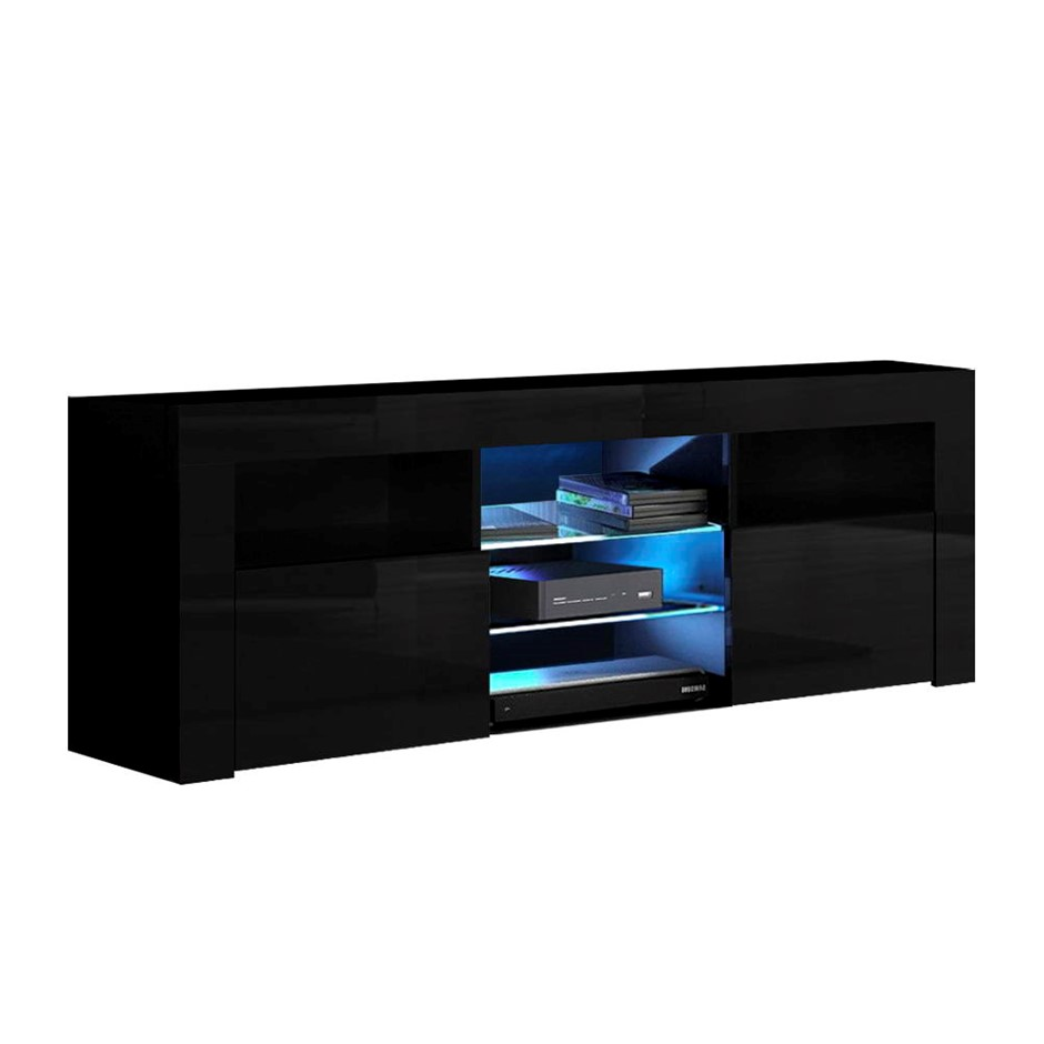 Artiss 145cm RGB LED TV Cabinet Entertainment Unit Stand Gloss Black