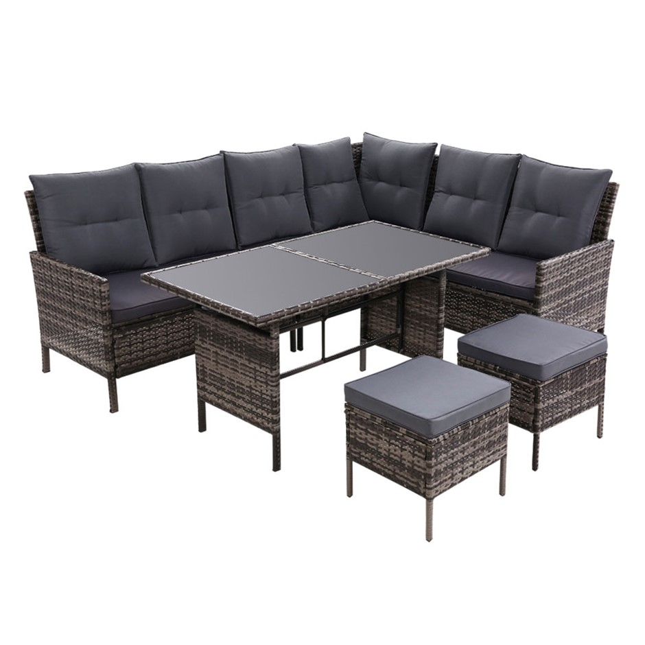 Outdoor Sofa Set Patio Furniture Lounge Setting Chair Table Wicker Grey