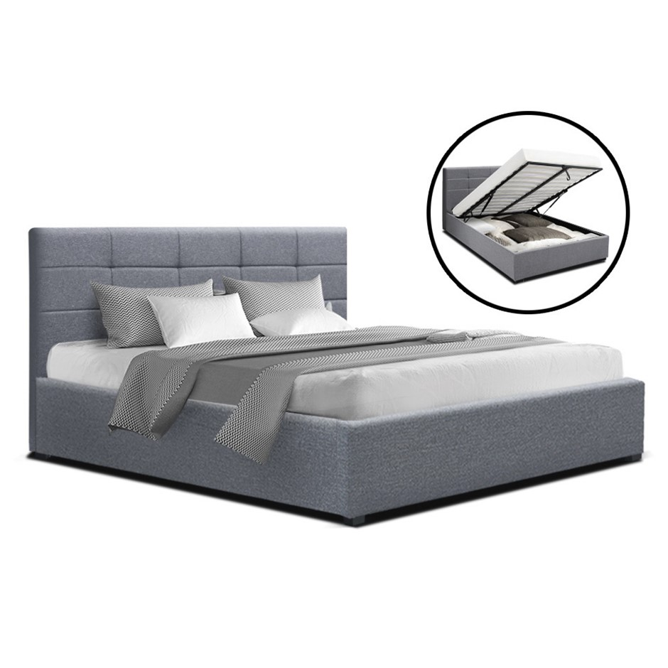 Artiss LISA Double Full Size Gas Lift Bed Frame Base Storage Mattress Grey