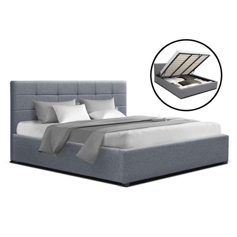 Artiss LISA King Size Gas Lift Bed Frame Base Storage Mattress Grey