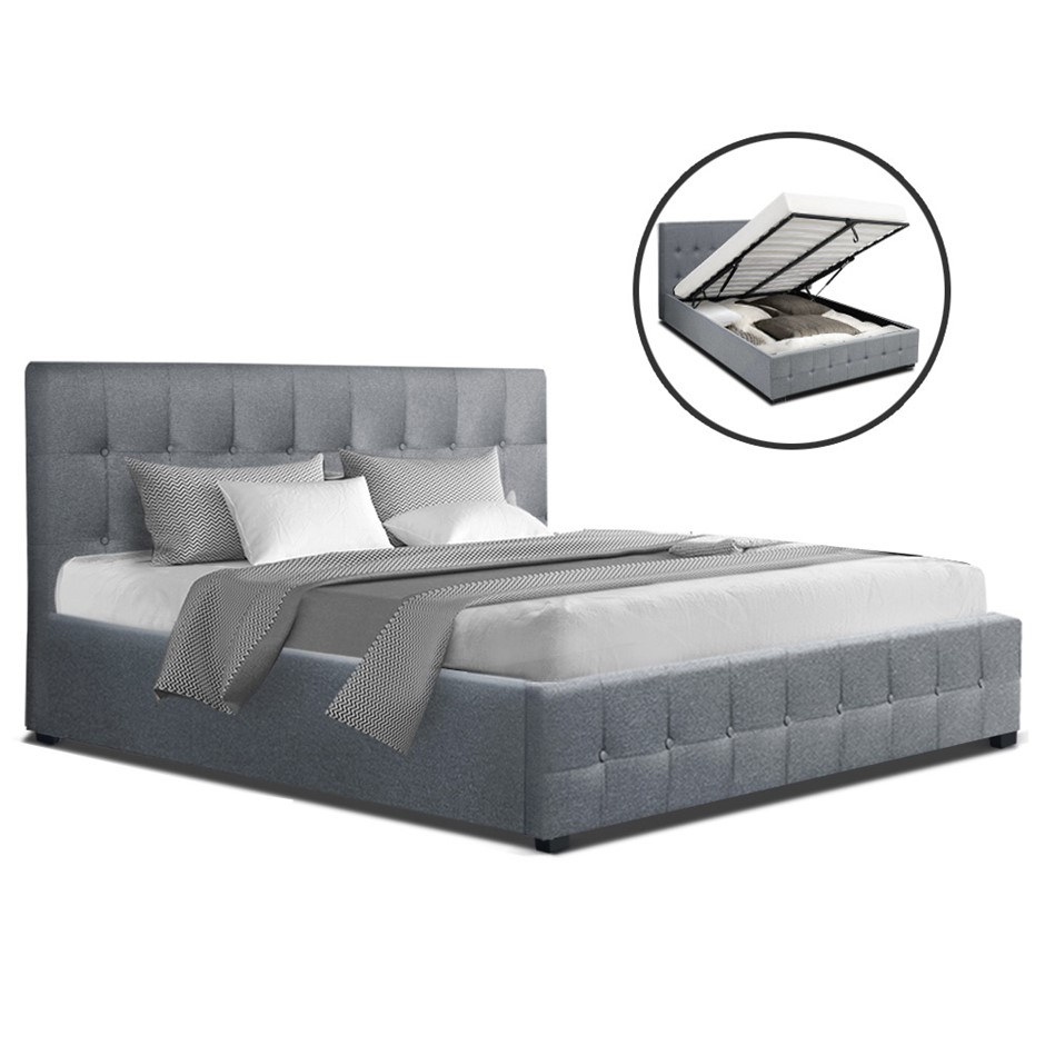 Artiss ROCA Queen Size Gas Lift Bed Frame Base Storage Mattress Grey
