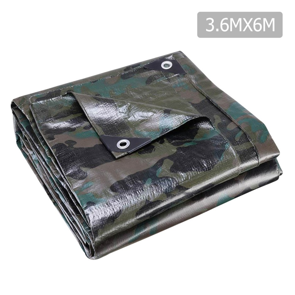 Instahut 3.6x6m Canvas Heavy Duty Camping Poly Tarp Tarpaulin Camouflage