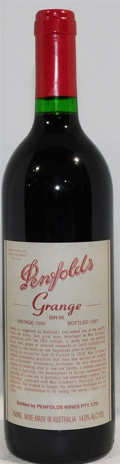 Penfolds 'Bin 95' Grange 1996 (1 x 750mL), SA.